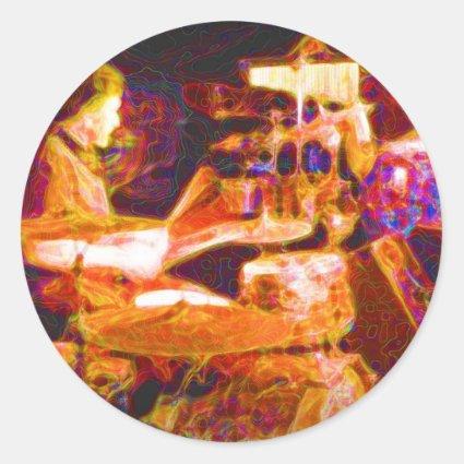 drummer on stage behind kit artistic.jpg sticker