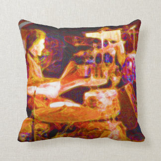 drummer on stage  behind kit artistic.jpg throw pillow