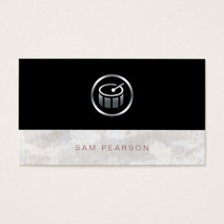 Drummer Percussionist Bold Silver Drums Icon Business Card