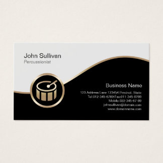 Drummer Percussionist Business Card Gold Drum Icon