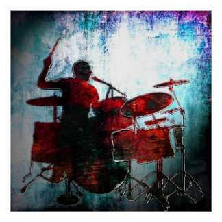 Drummer Pop of color, Copyright Karen J Williams Poster