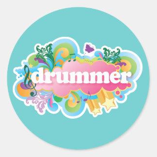 Drummer Retro Burst Classic Round Sticker
