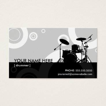 Professional Business drummer rings business card