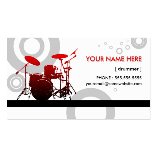 Drummer rings business card template zazzle for Drummer business cards