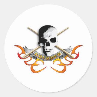 Drummer skull C Classic Round Sticker