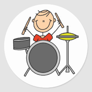 Drummer Stick Figure Stickers Sticker
