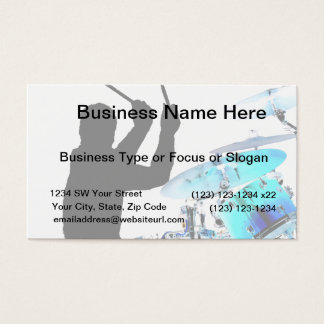 Drummer sticks in air shadow blue invert drums business card