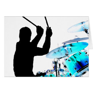Drummer sticks in air shadow blue invert drums greeting card