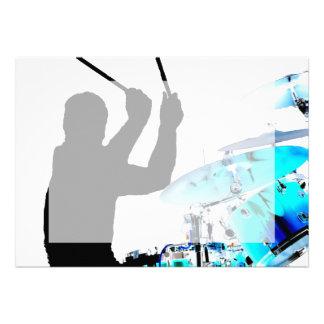 Drummer sticks in air shadow blue invert drums invite