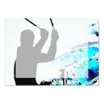 "Drummer sticks in air shadow blue invert drums 5"" x 7"" invitation card"