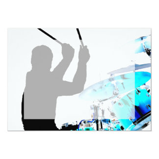 Drummer sticks in air shadow blue invert drums 5x7 paper invitation card