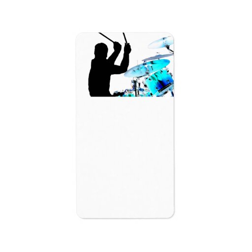 Drummer sticks in air shadow blue invert drums personalized address labels