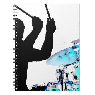 Drummer sticks in air shadow blue invert drums notebook