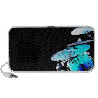 Drummer sticks in air shadow blue invert drums laptop speakers