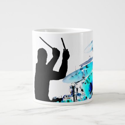 Drummer sticks in air shadow blue invert drums 20 oz large ceramic coffee mug