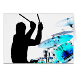 Drummer sticks in air shadow blue invert drums stationery note card