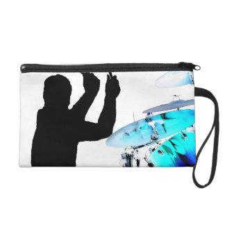 Drummer sticks in air shadow blue invert drums wristlet purse