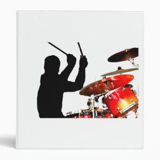 Drummer sticks in air shadow real drums 3 ring binder