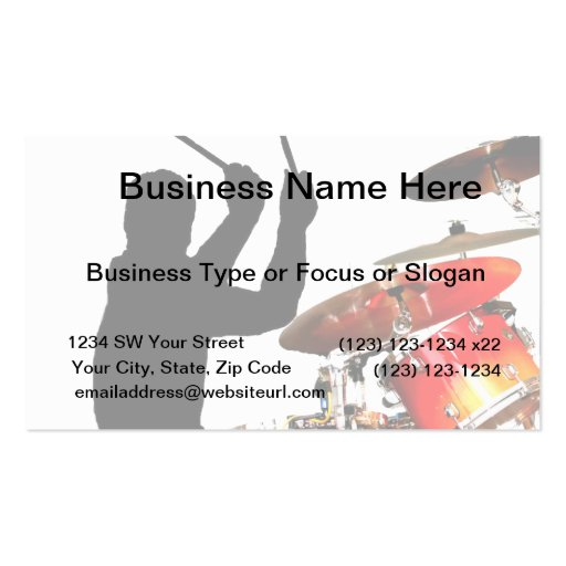 Drummer sticks in air shadow real drums Double-Sided standard business cards (Pack of 100)