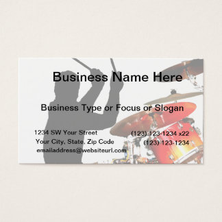 Drummer sticks in air shadow real drums business card