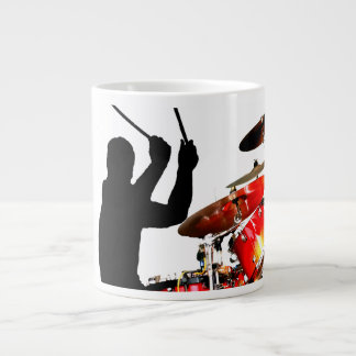 Drummer sticks in air shadow real drums giant coffee mug