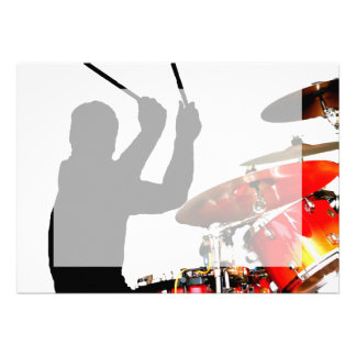 Drummer sticks in air shadow real drums invitation