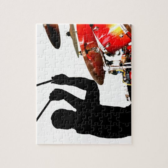 Drummer sticks in air shadow real drums jigsaw puzzle
