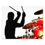 Drummer sticks in air shadow real drums photo print