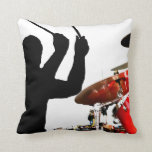Drummer sticks in air shadow real drums pillow