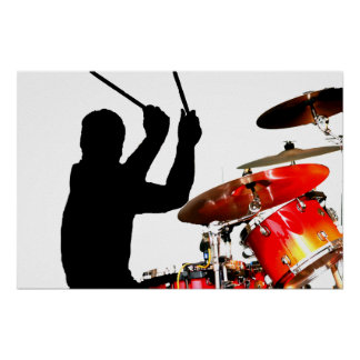 Drummer sticks in air shadow real drums posters