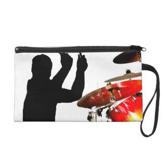 Drummer sticks in air shadow real drums wristlet purse