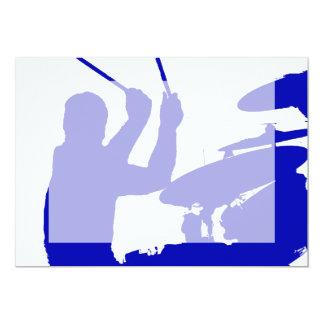 Drummer sticks in air shadow Solid blue Card