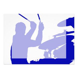 Drummer sticks in air shadow Solid blue Custom Announcements
