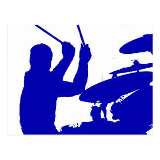 Drummer sticks in air shadow Solid blue Postcard