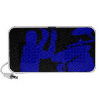 Drummer sticks in air shadow Solid blue iPhone Speakers