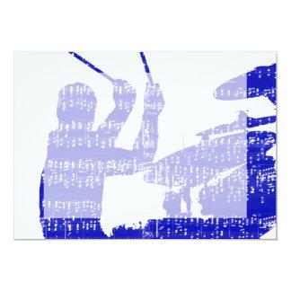 Drummer sticks shadow blue w music grunge card