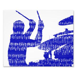 Drummer sticks shadow blue w music grunge photo print