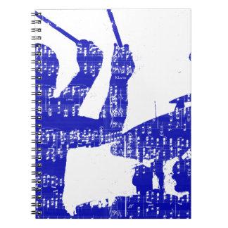Drummer sticks shadow blue w music grunge spiral notebook