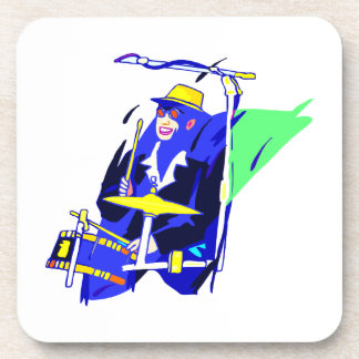 Drummer Sunglasses Blue and Yellow graphic Drink Coasters