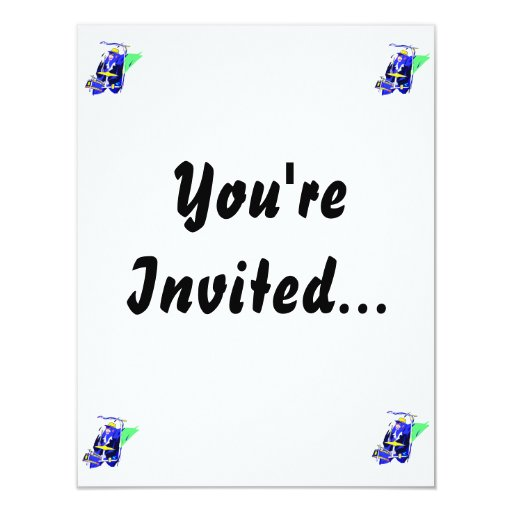 """Drummer Sunglasses Blue and Yellow graphic 4.25"""" X 5.5"""" Invitation Card"""
