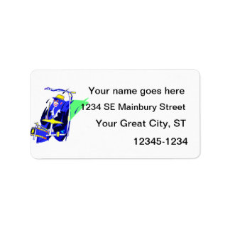 Drummer Sunglasses Blue and Yellow graphic Custom Address Label