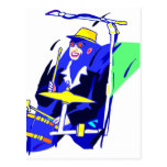 Drummer Sunglasses Blue and Yellow graphic Postcard