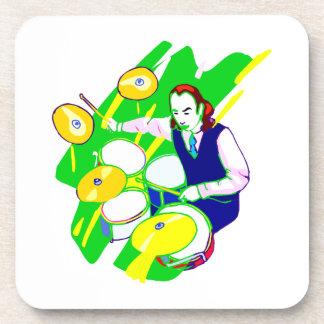 Drummer Wearing Vest Yellow Cymbals Graphic Beverage Coaster