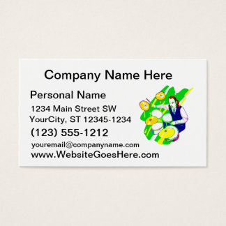 Drummer Wearing Vest Yellow Cymbals Graphic Business Card