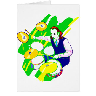 Drummer Wearing Vest Yellow Cymbals Graphic Stationery Note Card