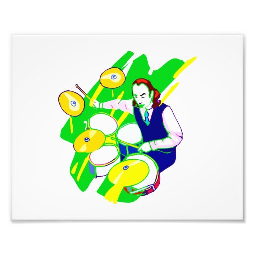 Drummer Wearing Vest Yellow Cymbals Graphic Photo Print