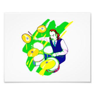 Drummer Wearing Vest Yellow Cymbals Graphic Photo Art