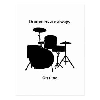 Drummers always on time postcard