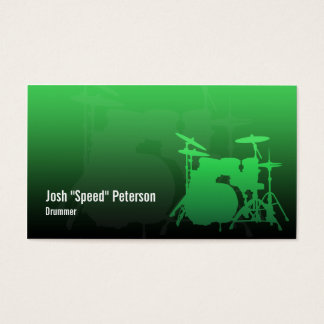 Drummer's Drum Kit Silhouette Green Business Card