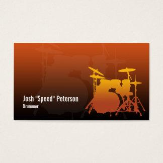 Drummer's Drum Kit Silhouette Orange Business Card